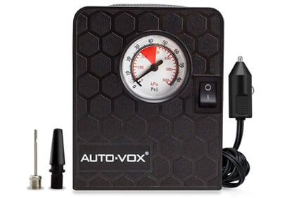 AUTO-VOX Portable Mini Air Compressor Air Pump Tire Inflator,3 Nozzle Adapters & Pressure Gauge & LED light, For Cars, Bicycles and Balls,Air Mattress Beds, and Pool Floats