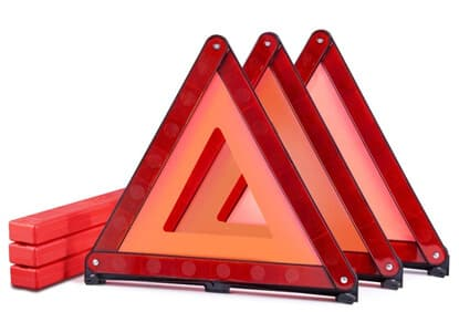 MysBiker Triple Warning Triangle Emergency Warning,Triangle Reflector Safety Triangle Kit,3-Pack (3 Pack, Red)