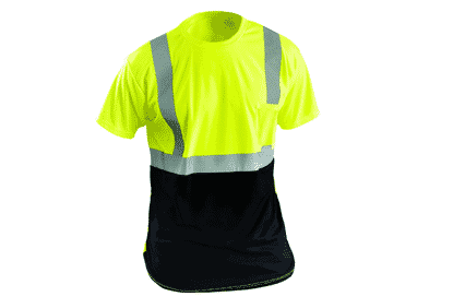 OccuNomix LUX-SSETPBK Class 2 Black Bottom Wicking Birdseye Mesh Safety T-Shirt – Yellow/Lime
