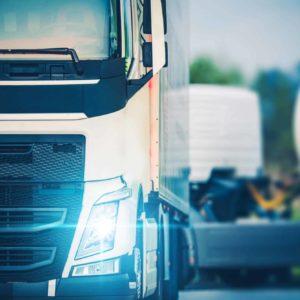 Semi Truckers Parking Rest. Modern Euro Semi Truck on the Parking Lot. Driver Break.